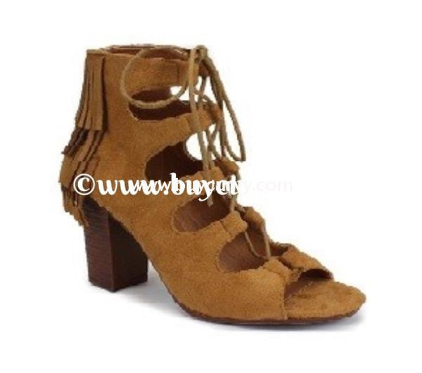 Shoes-Miim Camel Suede Fringed Lace Up Heels Sale! Shoes