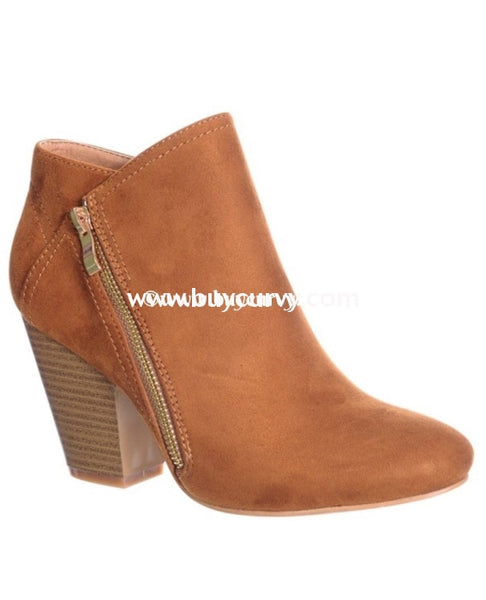 Shoes-Nature Breeze Tan Suede Booties With Gold Zipper Shoes