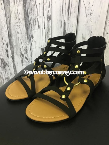 Shoes-Qupid Black With Gold Center Accent Sale! Shoes