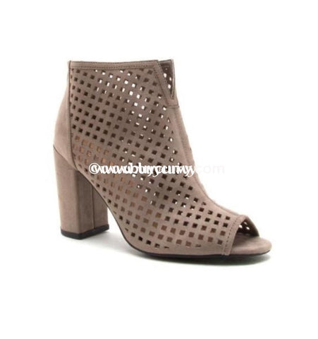 Shoes Qupid Taupe Laser Cut Peep Toe Booties Sale! Shoes