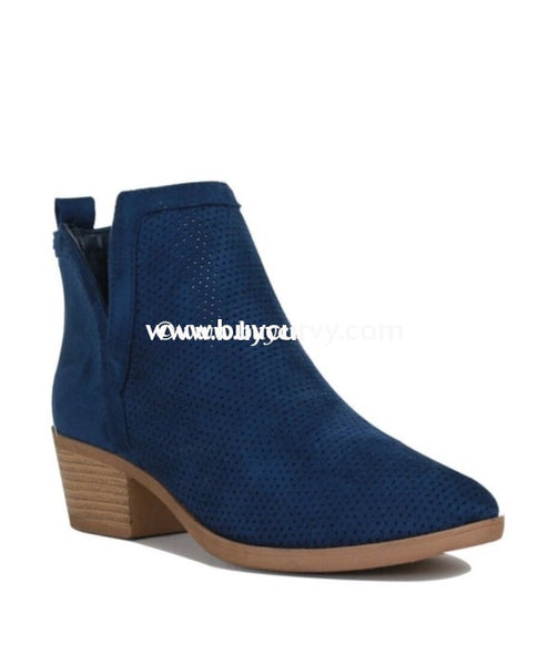 Shoes Reneeze Navy Suede Booties With Side Cut Detail And Heel Sale! Shoes