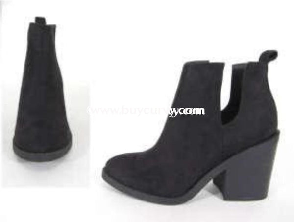 Shoes- Soda Black Side Cut Stacked Block Heel Booties Sale! Shoes