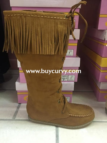 Shoes-Soda Lace-Up Fringe Boots Sale! British Tan / 5.5 Shoes
