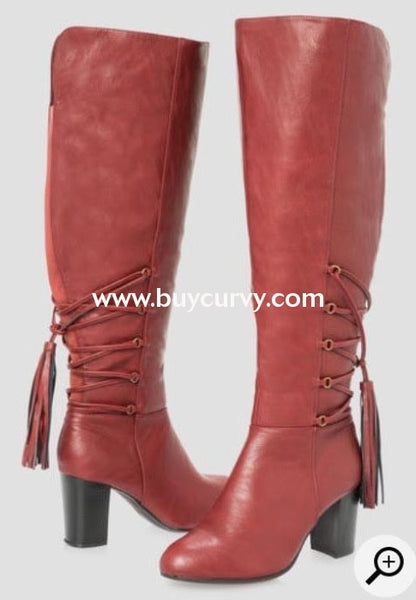 Shoes {Sole Mate} Maroon Extra-Wide Calf Knee Boots With Tassel Detail Sale! Shoes