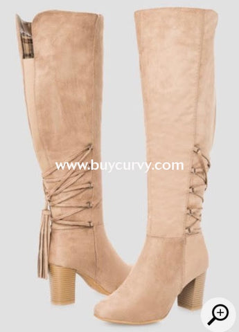5f61991c1e1e Shoes  Sole Mate  Taupe Extra-Wide Calf Knee With Tassel Detail Boots Sale