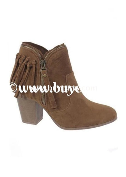 Shoes-Tan Fringed Boots With Platform Heel & Side Zipper Sale! Shoes