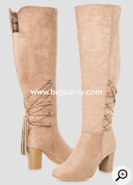 Shoes-Taupe Extra-Wide Calf Knee With Tassel Detail Boots Sale! Shoes