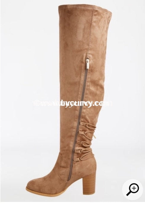 Shoes-Taupe Extra-Wide Calf Thigh High Boots With Heel Sale! Shoes