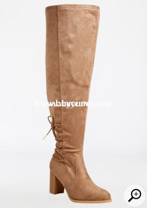 28a161d040a SHOES {Sole Mate} Taupe Extra-Wide Calf Thigh High Boots With Heel SALE!