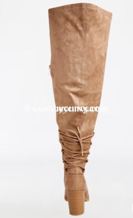 Shoes Taupe Extra Wide Calf Thigh High Boots With Heel