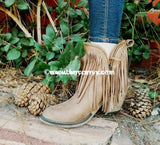 Shoes Wild G Taupe Suede Booties With Long Fringes Sale! Shoes
