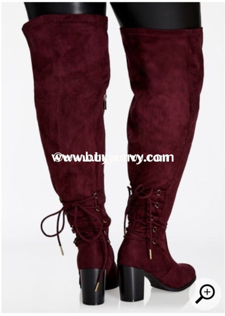 0ab1b528136 SHOES {Soul Mate} Wine Extra-Wide Calf Thigh High Boots With Heel SALE!
