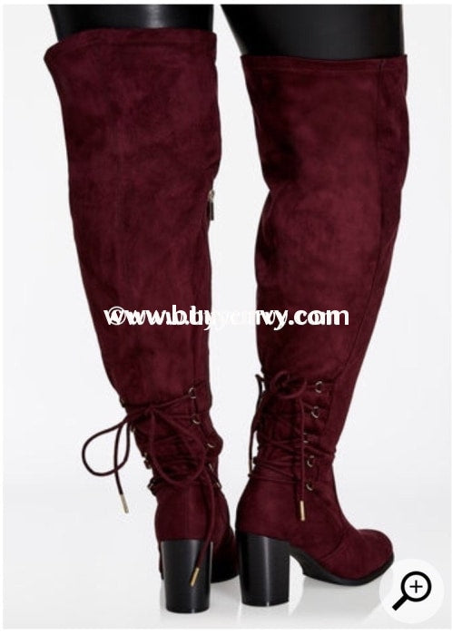 Shoes-Wine Extra-Wide Calf Thigh High Boots With Heel Sale! Shoes