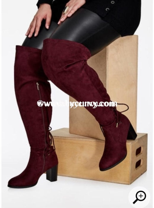 Wine Extra-Wide Calf Thigh High Boots