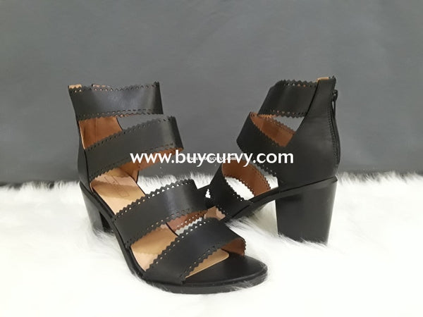 Shoes Yoki Black Heels With Four Wide Leather Straps Sale! Shoes