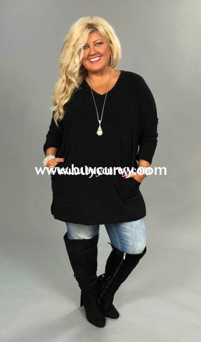 Sls-A {Might Be Late} Black Knit V-Neck Sweater Split Sides Sls