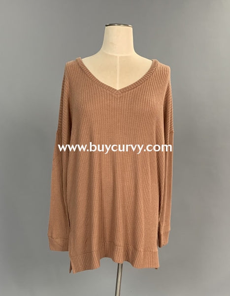 Sls-A {Totally Agree} Eggshell Waffle Knit V-Neck Tunic Sls