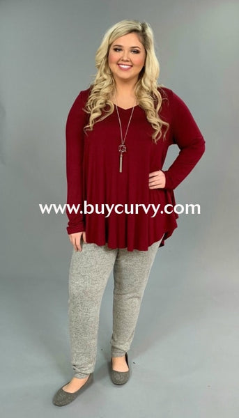 Sls-B {Simple Words} Burgundy V-Neck Tunic With Long Sleeves Extended Plus Sls