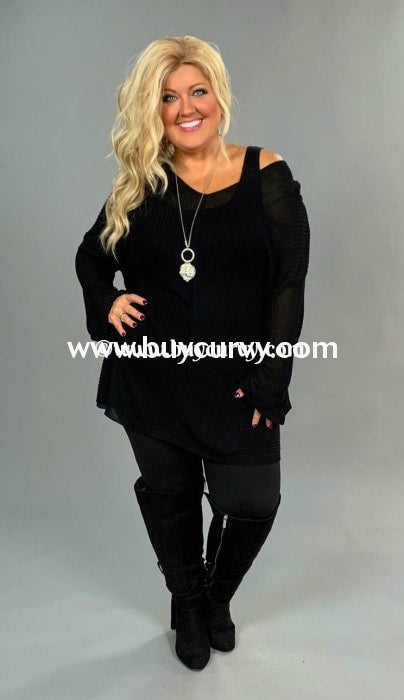 Sls-C Selfie Couture Black Ribbed V-Neck Sweater Sls