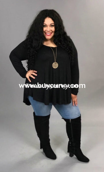 Sls-C {Simple Words} Black V-Neck Tunic With Long Sleeves Extended Plus Sls