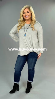 Sls-E Long Sleeved Heather Gray Top With Knotted Hem Sls
