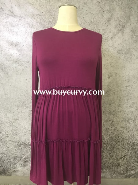 Sls-F {Bellamie} Magenta Dress With Tiny Ruffle Detail Sls