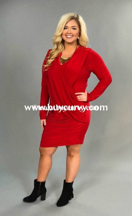 62fc24c5ee8 A Night Out  Red V-Neck Overlap Long Sleeve Dress – Curvy Boutique ...