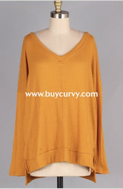Sls-I {Cute As Ever} Gold V-Neck Waffle Knit Long Sleeved Tunic Sls