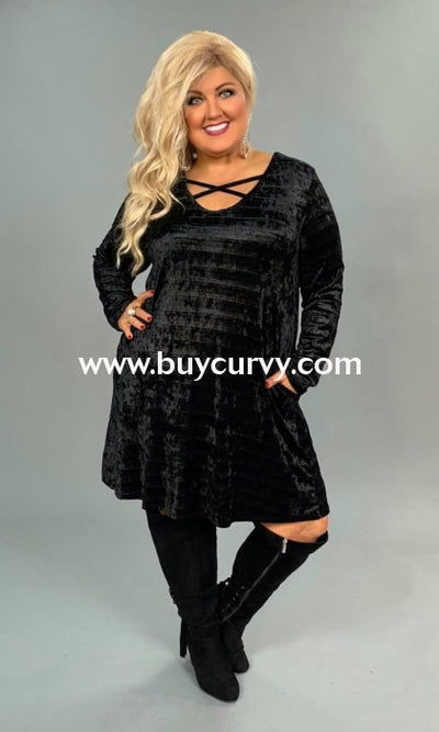 Sls-O Obsidian Black Velvet Criss Cross W/ Pockets Sale!! Sls