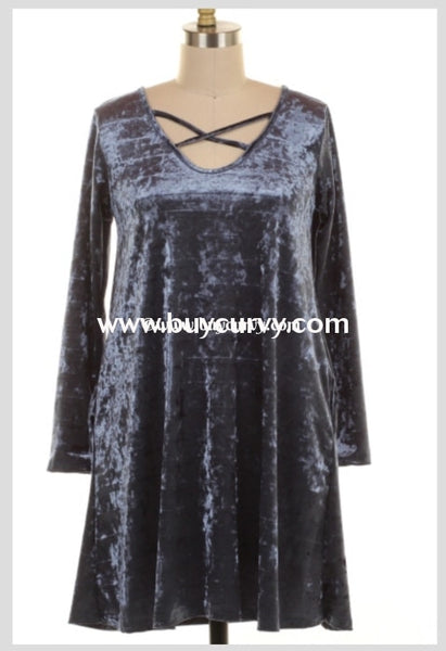 Sls-P Sale!! Prussian Velvet With Criss-Cross V-Neck Detail Sls