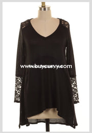 Sls-Q {Extended Plus} Black Perforated Knit V-Neck Top Lace Detail Sls