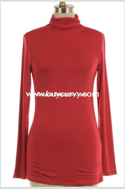 Sls-R {Helen Of Troy} Solid Red Turtleneck Long Sleeved Sale!! Sls