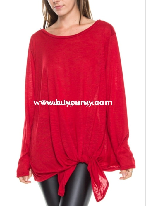 Sls-S Burgundy Long Sleeved Top With Side-Tie Detail Sls