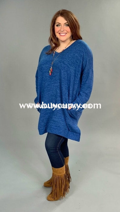Sls-T {Rave Reviews} Long Blue Fleece Tunic With Split Sides Sls
