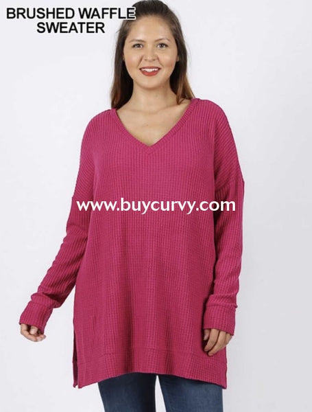 Sls-T {Totally Agree} Magenta Waffle Knit V-Neck Tunic Sls
