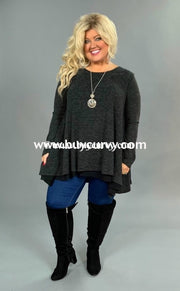 Sls-T Umgee Charcoal Oversized Layered Knit Sale!! Sls