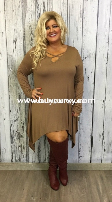 Sls-U Asymmetrical Mocha With Criss-Cross V-Neck Sale!! Sls