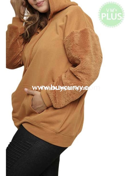 Sls-V {Cozy All Day} Camel Knit With Faux Fur Sleeves Sale!! Sls