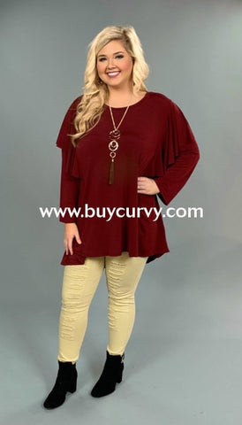Sls-V {Extended Plus} Burgundy Ruffle Top Shoulder Detail Sls