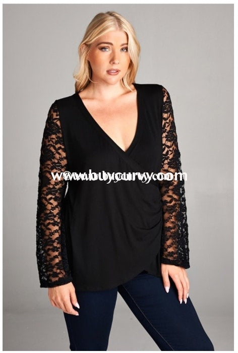 Sls-V Rayon/spandex Black Overlap With Wide Lace Sleeves Sale!! Sls