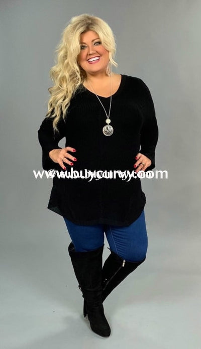 Sls-Y Selfie Couture Black Knit With Deep V-Neck Sale!! Sls