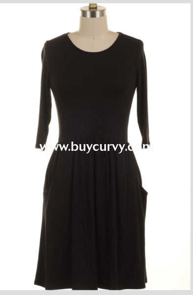 Sq-A Always On The Go Black Dress With Pockets & Elastic Sq