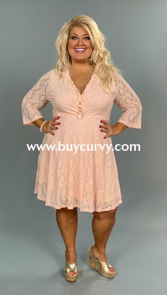 Sq-A {Broadway Lights} Blush Dress With Lace Overlay & Zip Back Sq