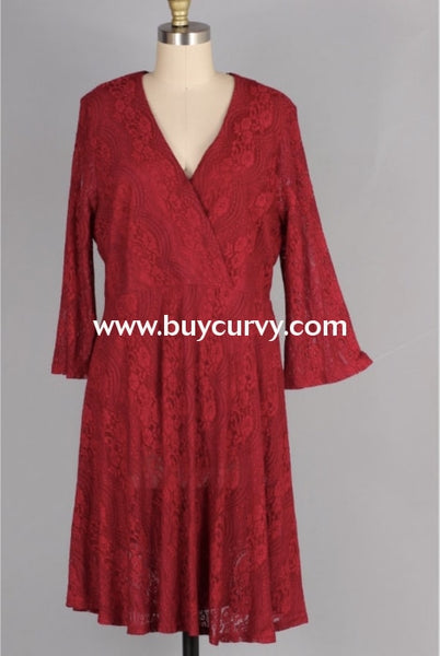 Sq-B {Broadway Lights} Burgundy Dress Lace Overlay & Zip Back Sq