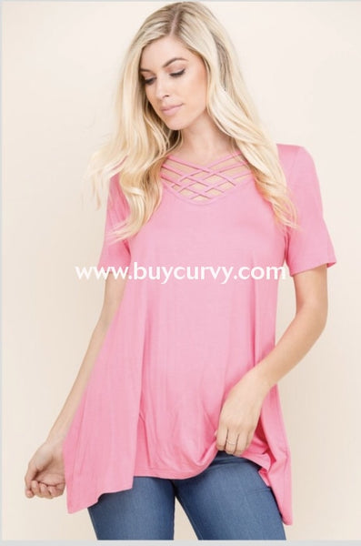 Sq-B {Friend Request} Pink Cage Neck Short-Sleeved Tunic Sq