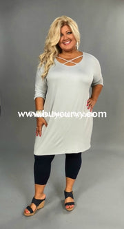 Sq-B Grey Sky Morning Tunic With Criss-Cross Detail Sq