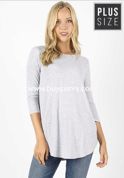 Sq-B {Lounging Around} Heather Gray Top With 3/4 Sleeves Sq
