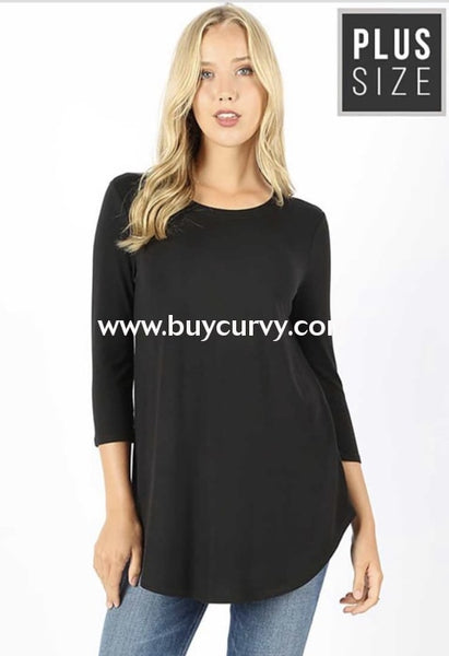 Sq-B {Lounging Around} Solid Black Top With 3/4 Sleeves Sq