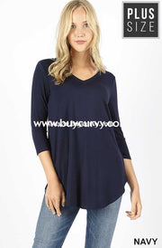 Sq-B {Sums It Up} Navy V-Neck Top With 3/4 Sleeves Sq