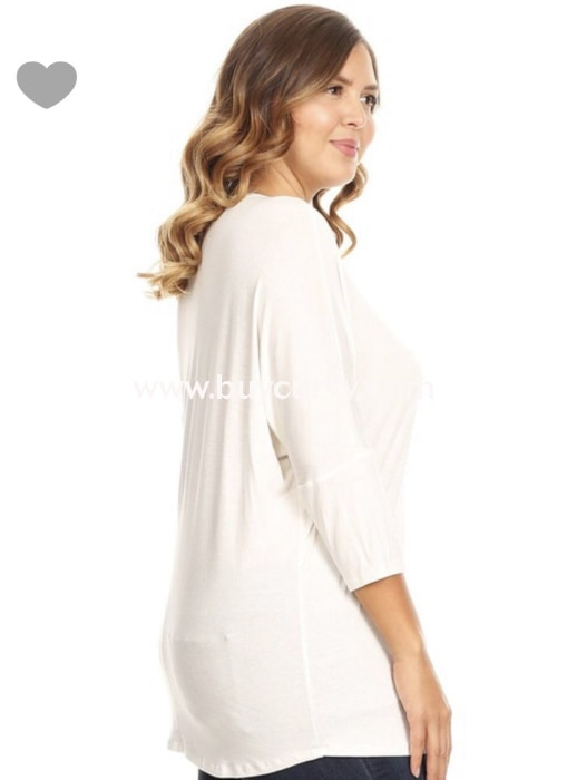 Sq-D {Here For You} Ivory Round Neck Top Dolman 3/4 Sleeves Sq